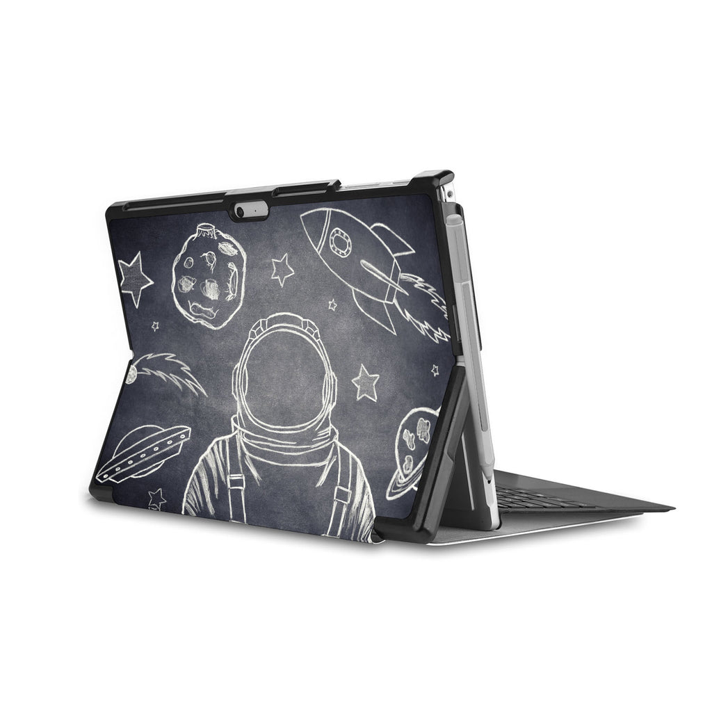 swap - the back side of Personalized Microsoft Surface Pro and Go Case in Movie Stand View with Astronaut Space design
