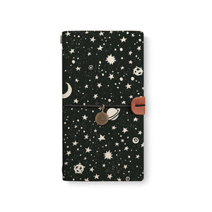 the front top view of midori style traveler's notebook with Space design