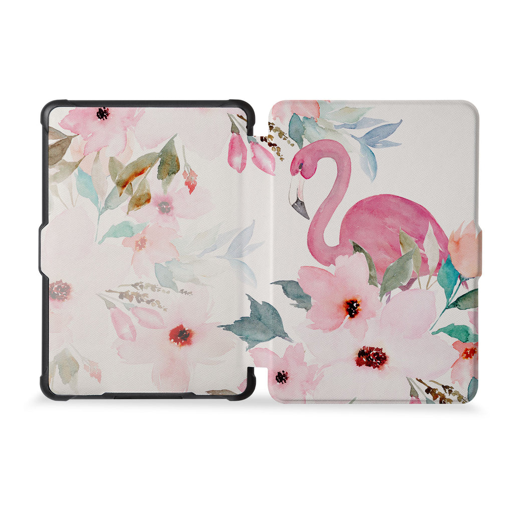the whole front and back view of personalized kindle case paperwhite case with Flamingo design