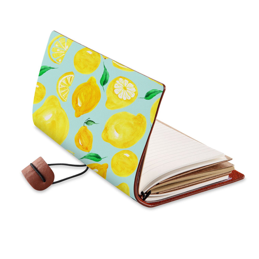 opened view of midori style traveler's notebook with Fruit design