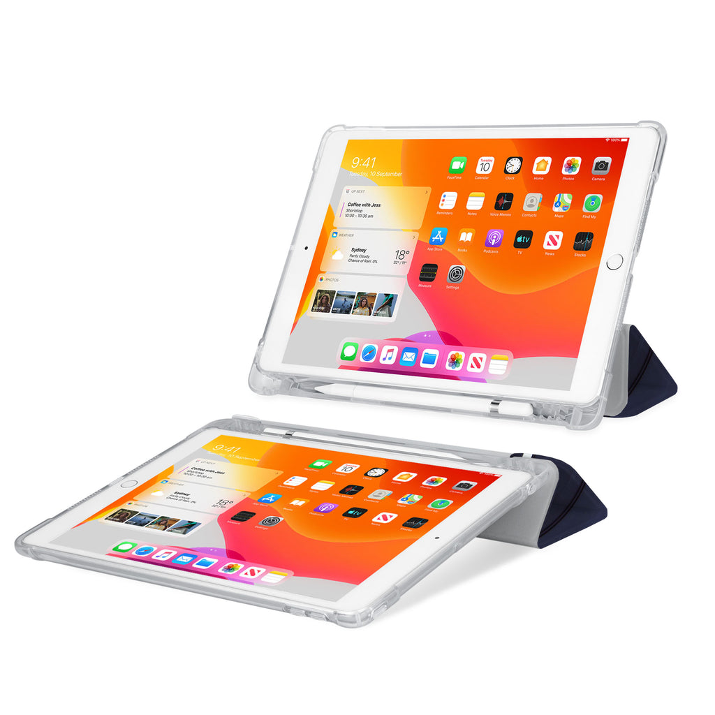 iPad SeeThru Casd with Retro Vintage Design Rugged, reinforced cover converts to multi-angle typing/viewing stand