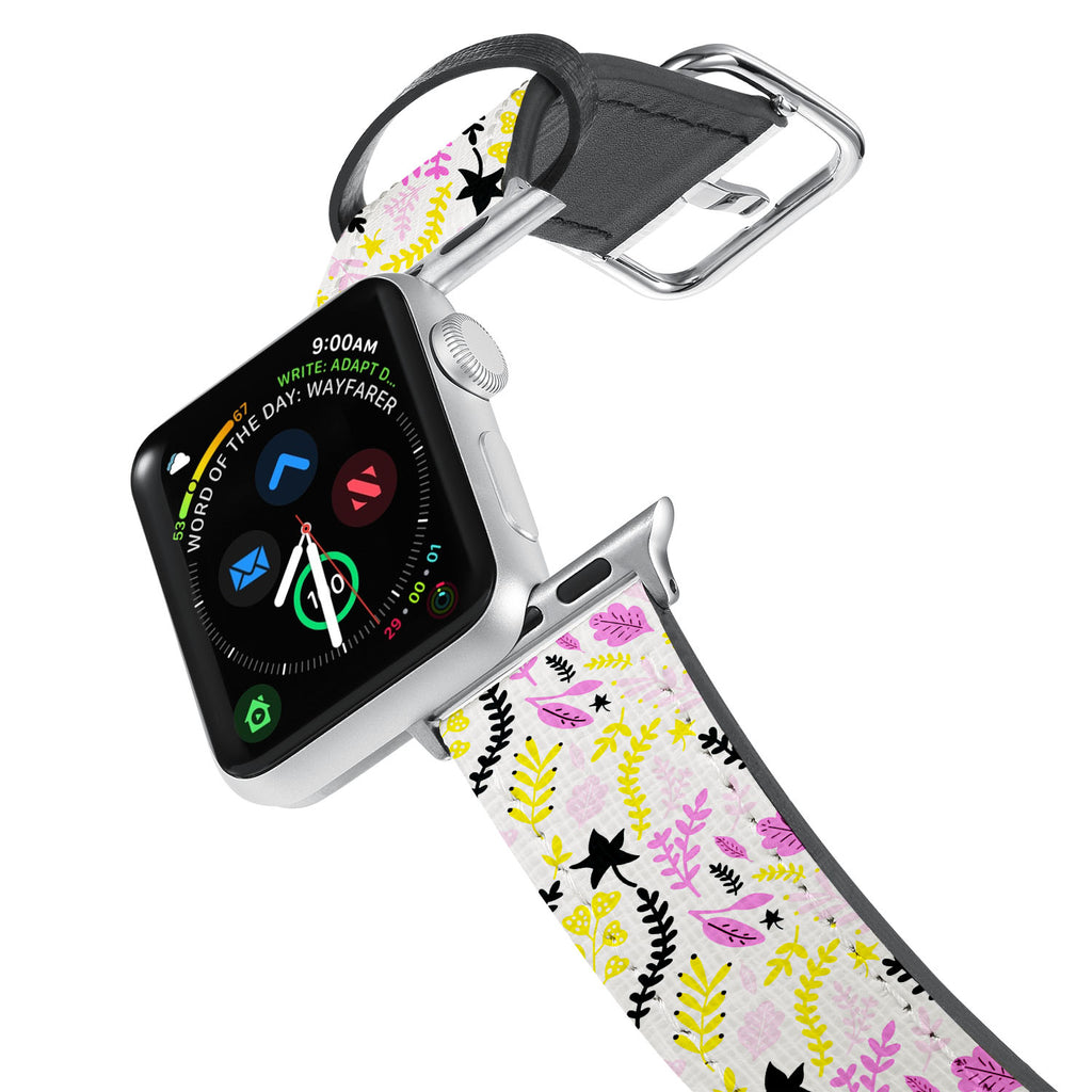 Printed Leather Apple Watch Band with Autumn 1 design. Designed for Apple Watch Series 4,Works with all previous versions of Apple Watch.