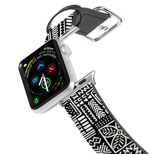 Printed Leather Apple Watch Band with Aztec Tribal design. Designed for Apple Watch Series 4,Works with all previous versions of Apple Watch.