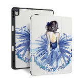 front and back view of personalized iPad case with pencil holder and Ballet Dancer design