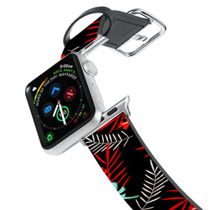 Printed Leather Apple Watch Band with Jungle design. Designed for Apple Watch Series 4,Works with all previous versions of Apple Watch.