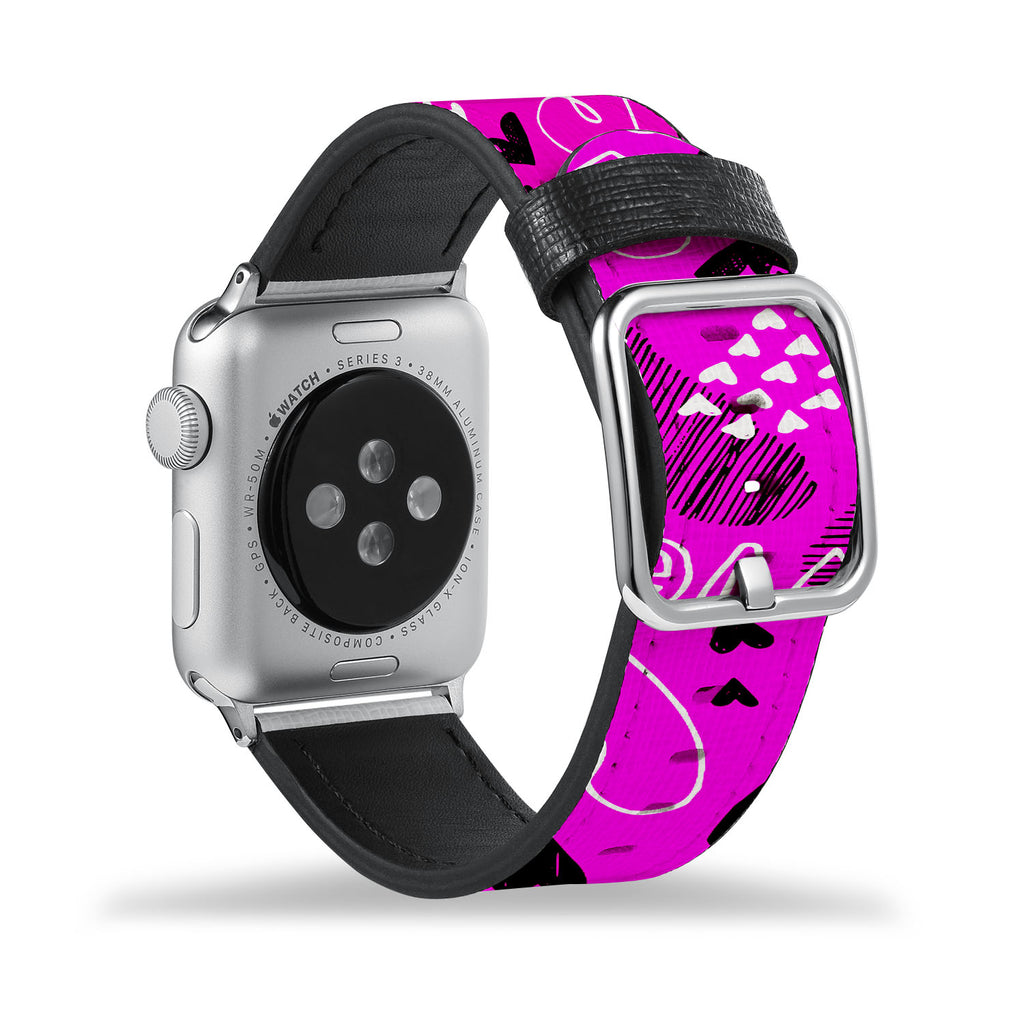 Printed Leather Apple Watch Band with Heart design Like all Apple Watch bands, you can match this band with any Apple Watch case of the same size