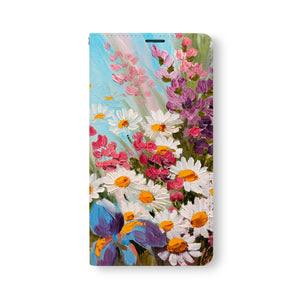 Front Side of Personalized Samsung Galaxy Wallet Case with OilPaintingFlower design