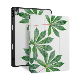 front back and stand view of personalized iPad case with pencil holder and Flat Flower design - swap