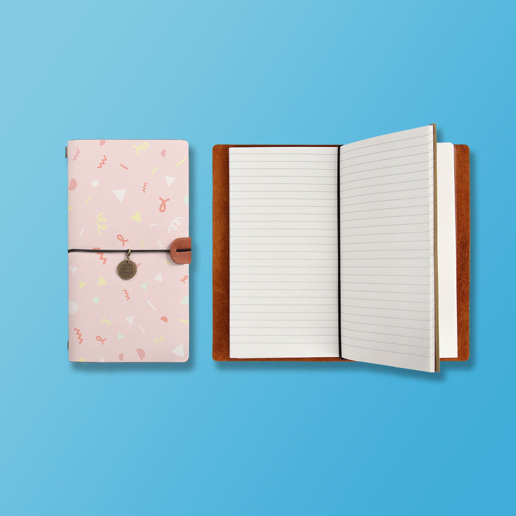 the front top view of midori style traveler's notebook with Baby design