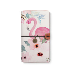 the front top view of midori style traveler's notebook with Flamingo design