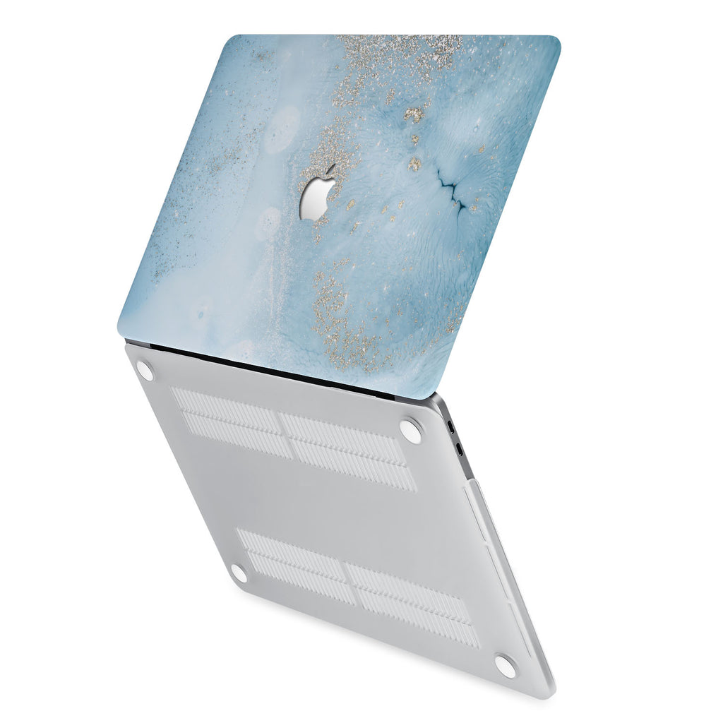 hardshell case with Marble Gold design has rubberized feet that keeps your MacBook from sliding on smooth surfaces