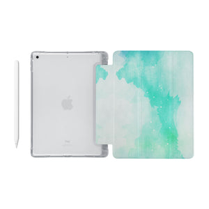 iPad SeeThru Casd with Abstract Watercolor Splash Design Fully compatible with the Apple Pencil