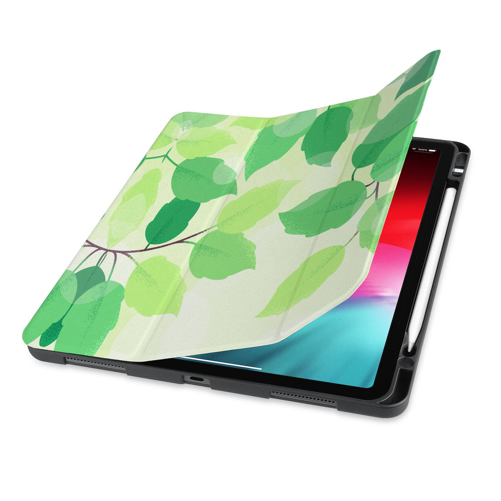 front view of personalized iPad case with pencil holder and Leaves design