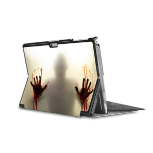the back side of Personalized Microsoft Surface Pro and Go Case in Movie Stand View with Horror design - swap