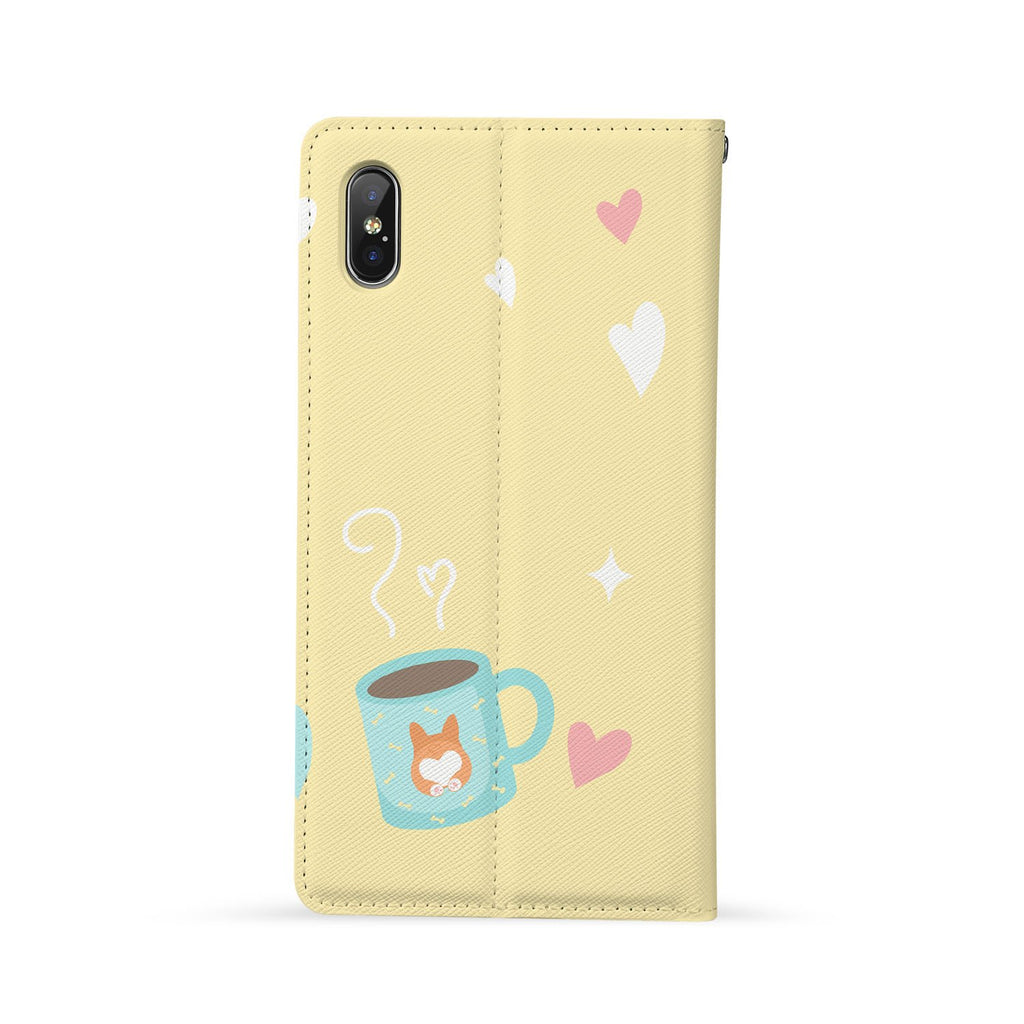 Back Side of Personalized Huawei Wallet Case with Corgi Puppy design - swap