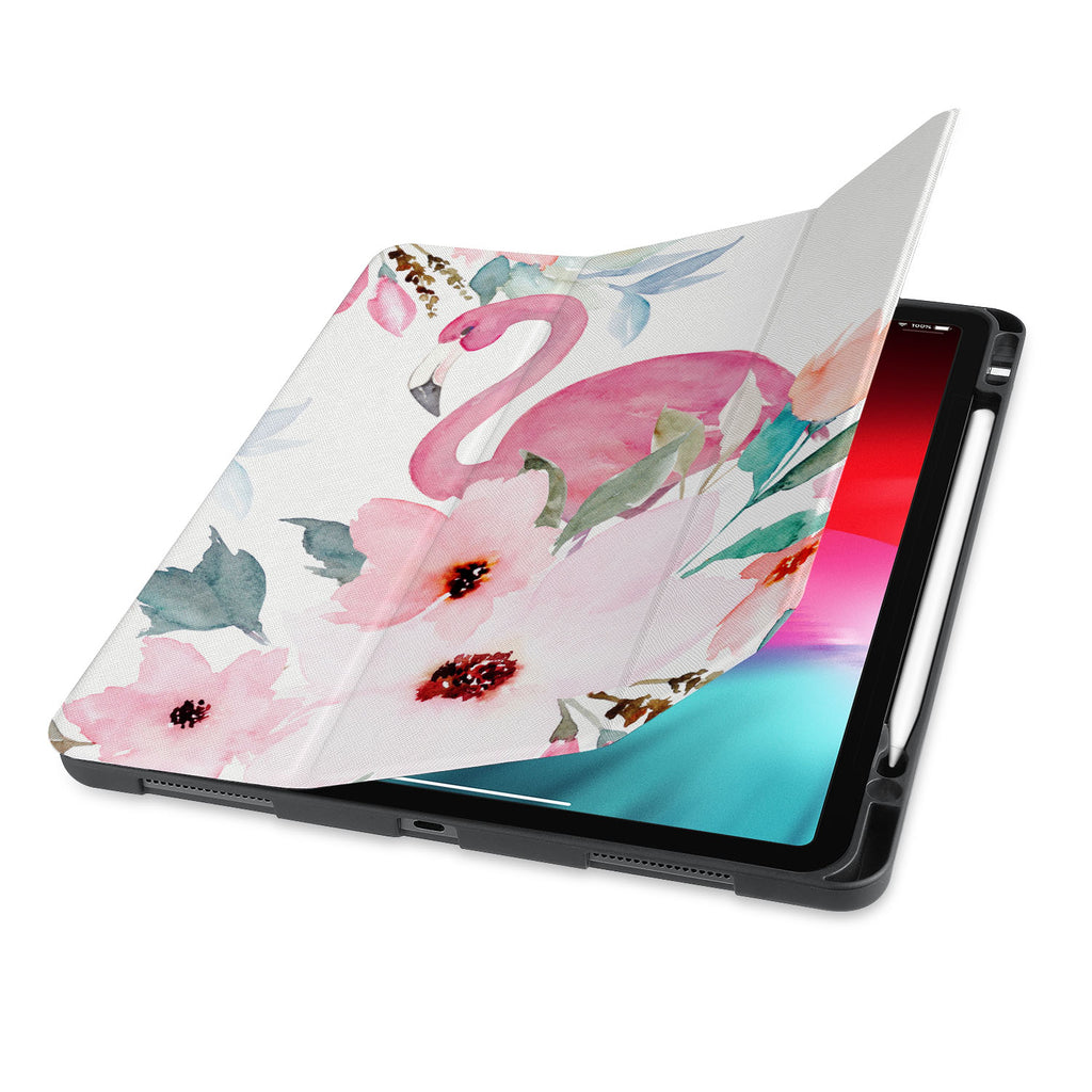 front view of personalized iPad case with pencil holder and Flamingo design