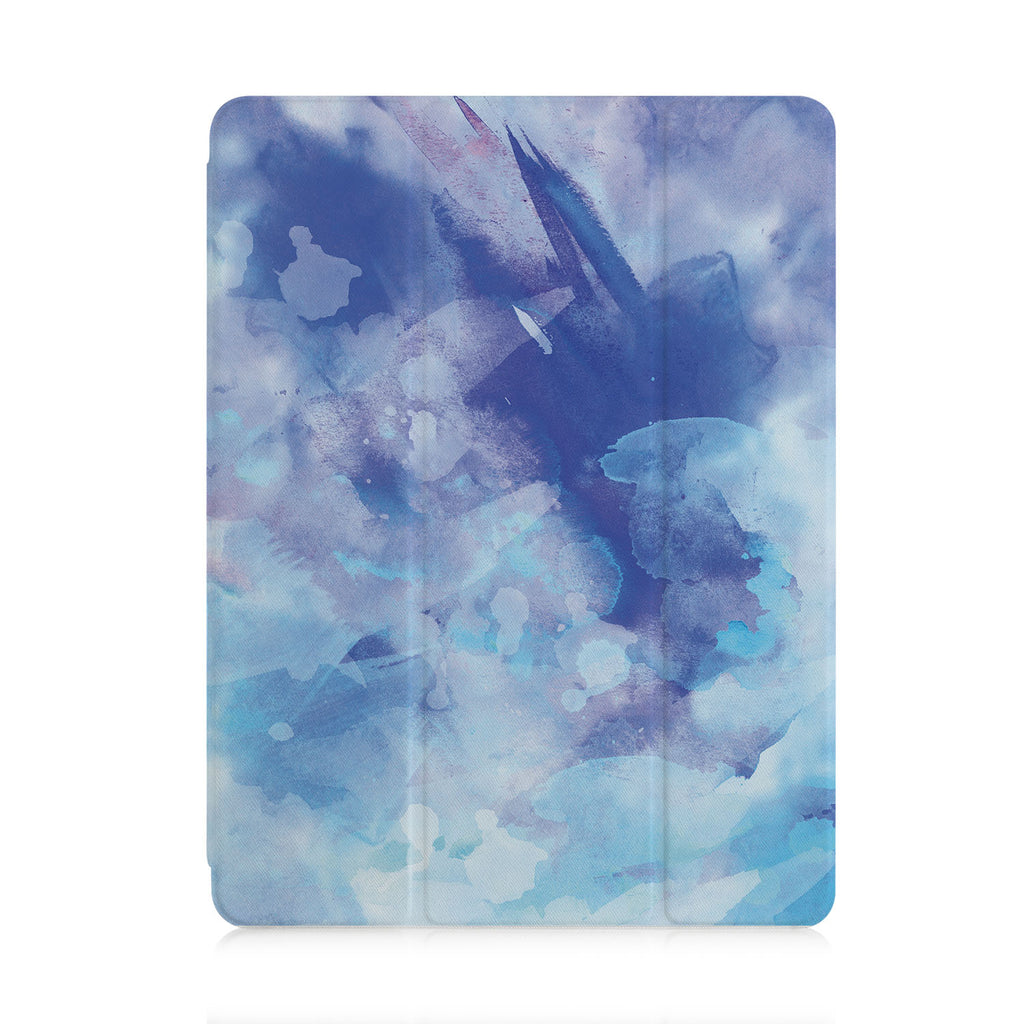 front view of personalized iPad case with pencil holder and Watercolor Abstract 1 design
