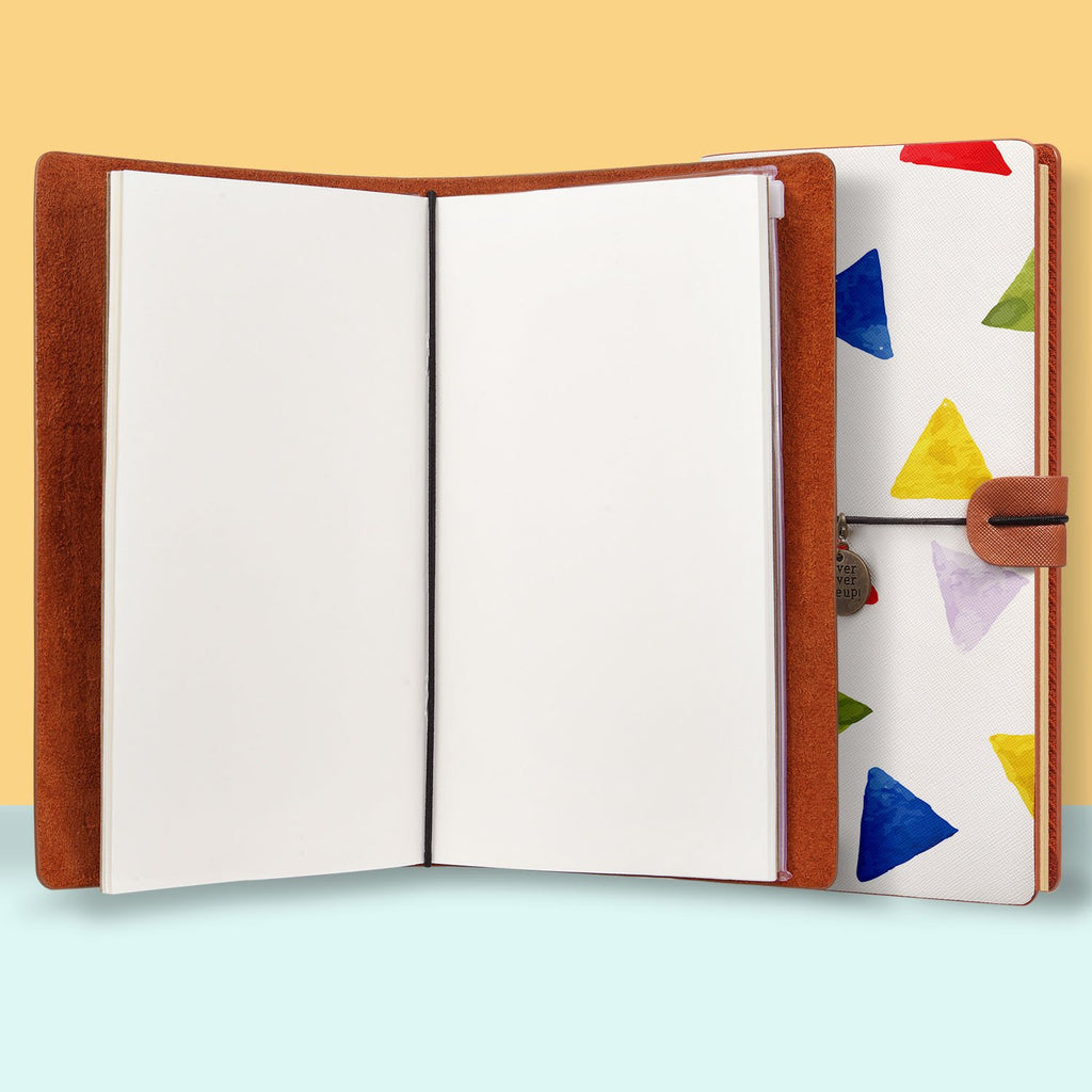the front top view of midori style traveler's notebook with Geometry Pattern design