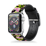 Handmade Printed Leather Apple Watch Band with Flower 2 design from buttery-smooth leather - swap