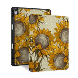 front and back view of personalized iPad case with pencil holder and Sunflower design