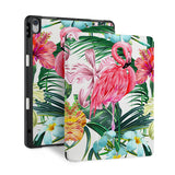 front and back view of personalized iPad case with pencil holder and Flamingos design