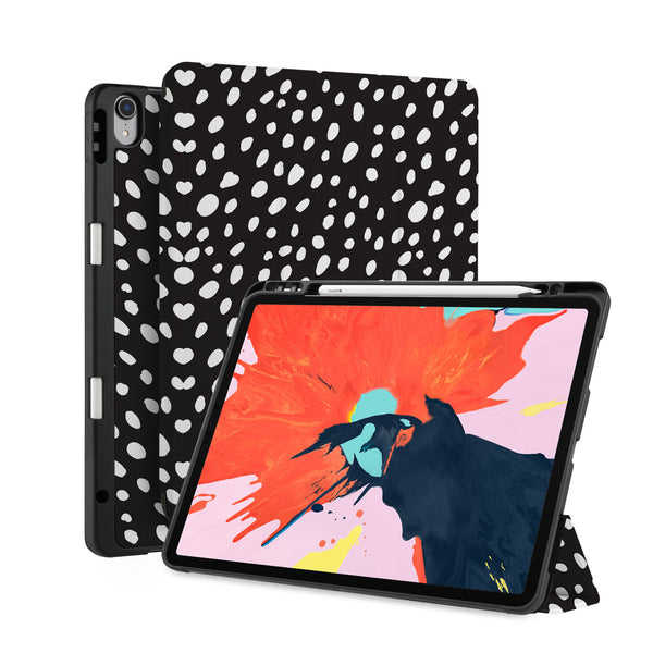 front back and stand view of personalized iPad case with pencil holder and Black design
