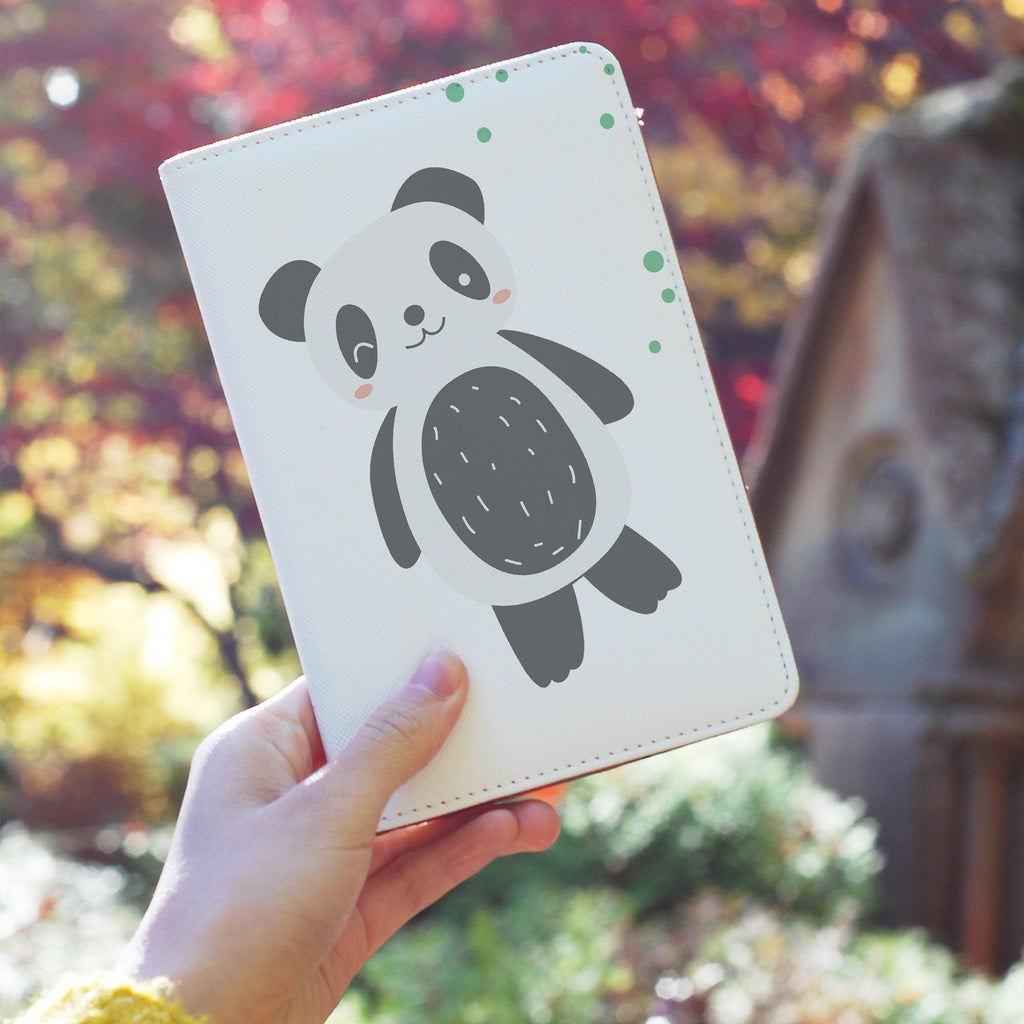 a girl holding personalized RFID blocking passport travel wallet with Cute Animals design