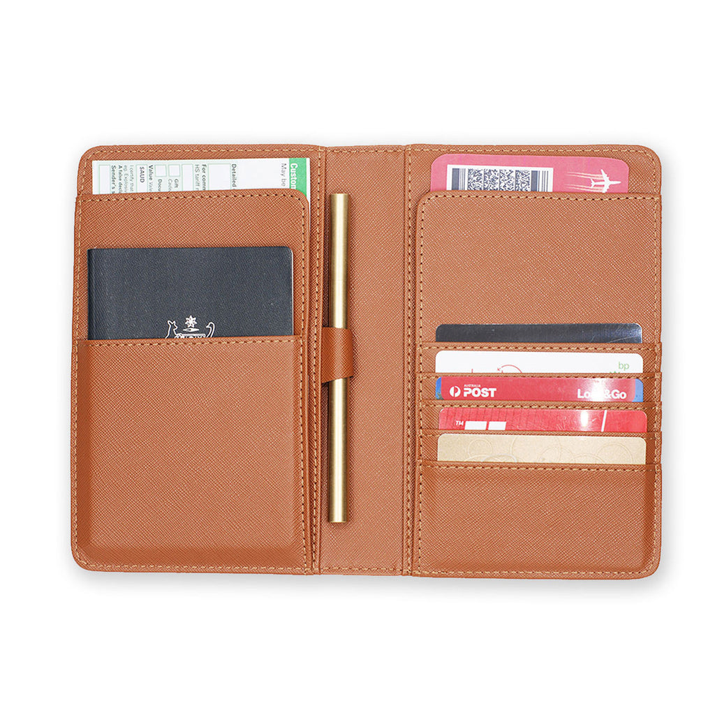 inside view of personalized RFID blocking passport travel wallet with Pink Marble design - swap