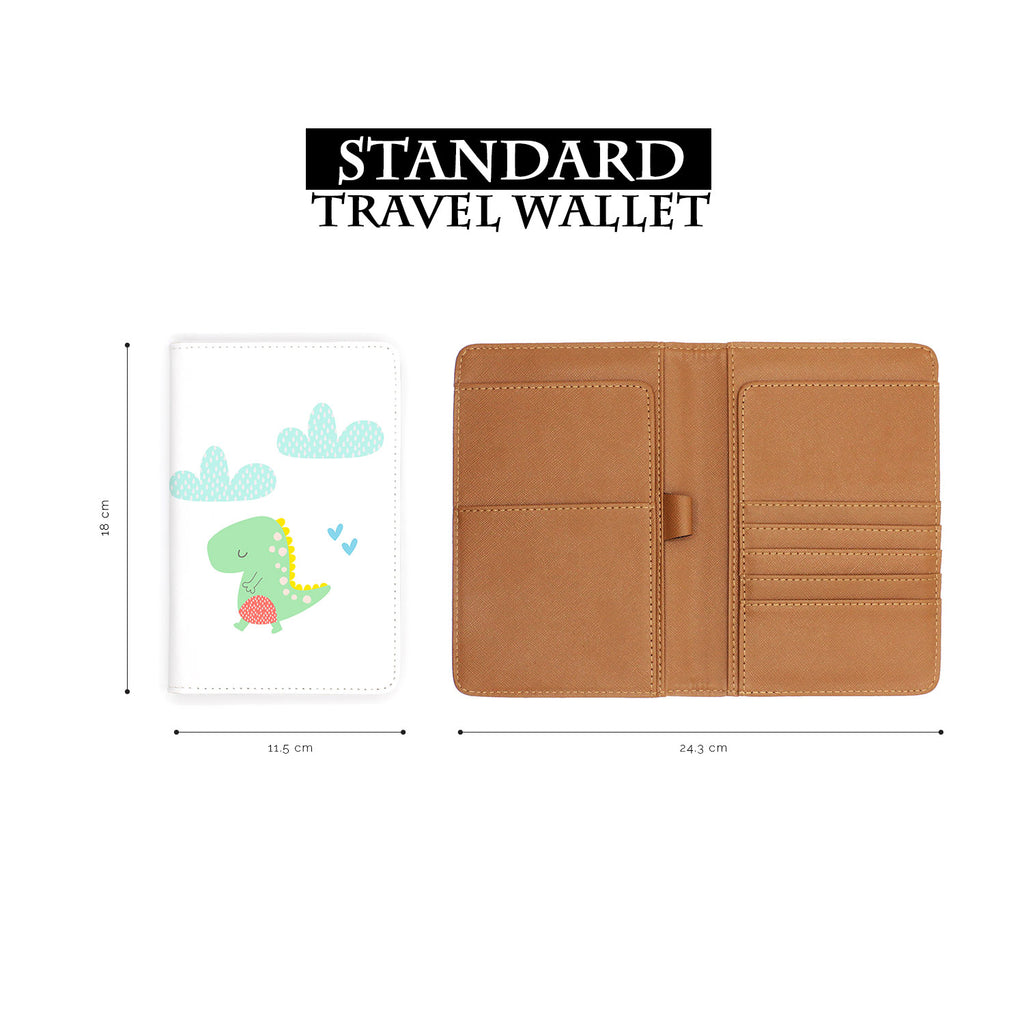 standard size of personalized RFID blocking passport travel wallet with Dino design
