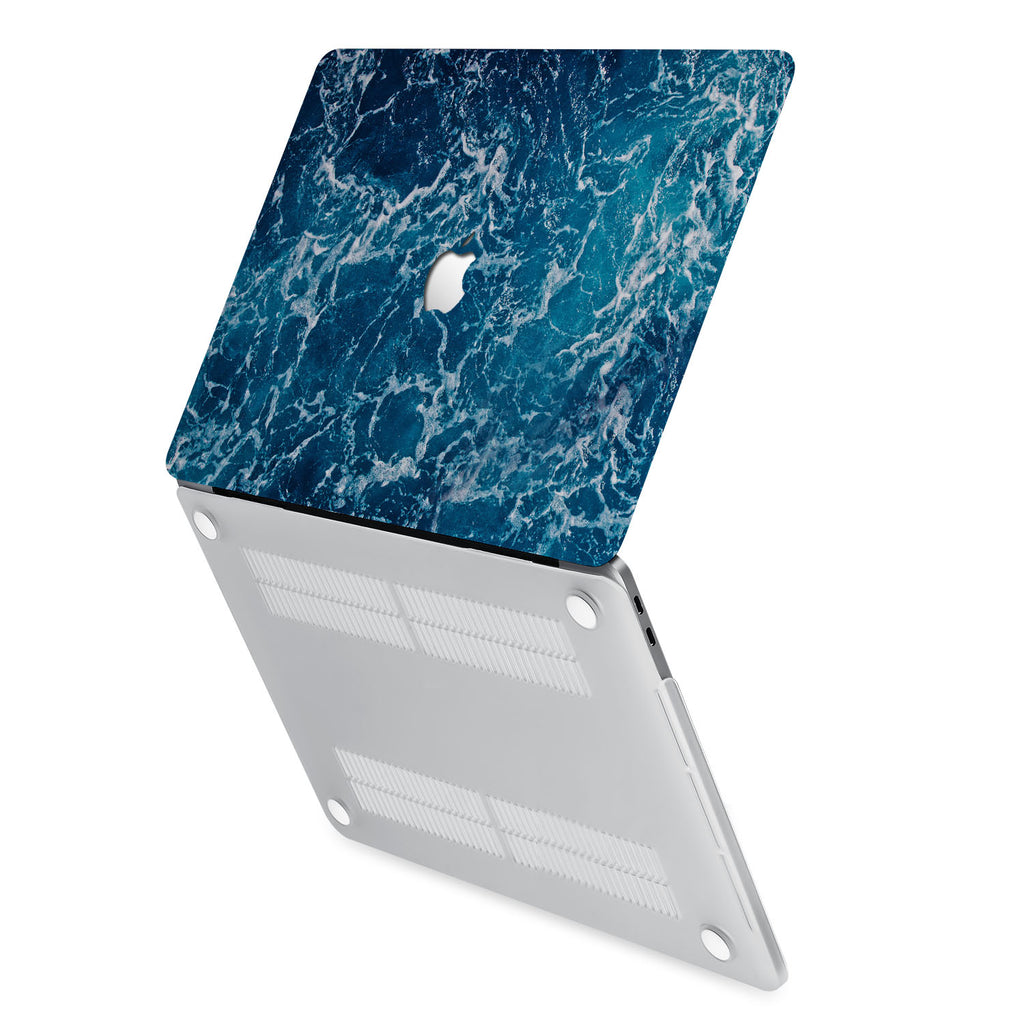 hardshell case with Ocean design has rubberized feet that keeps your MacBook from sliding on smooth surfaces