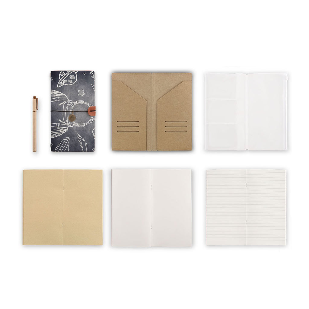 midori style traveler's notebook with Astronaut Space design, refills and accessories