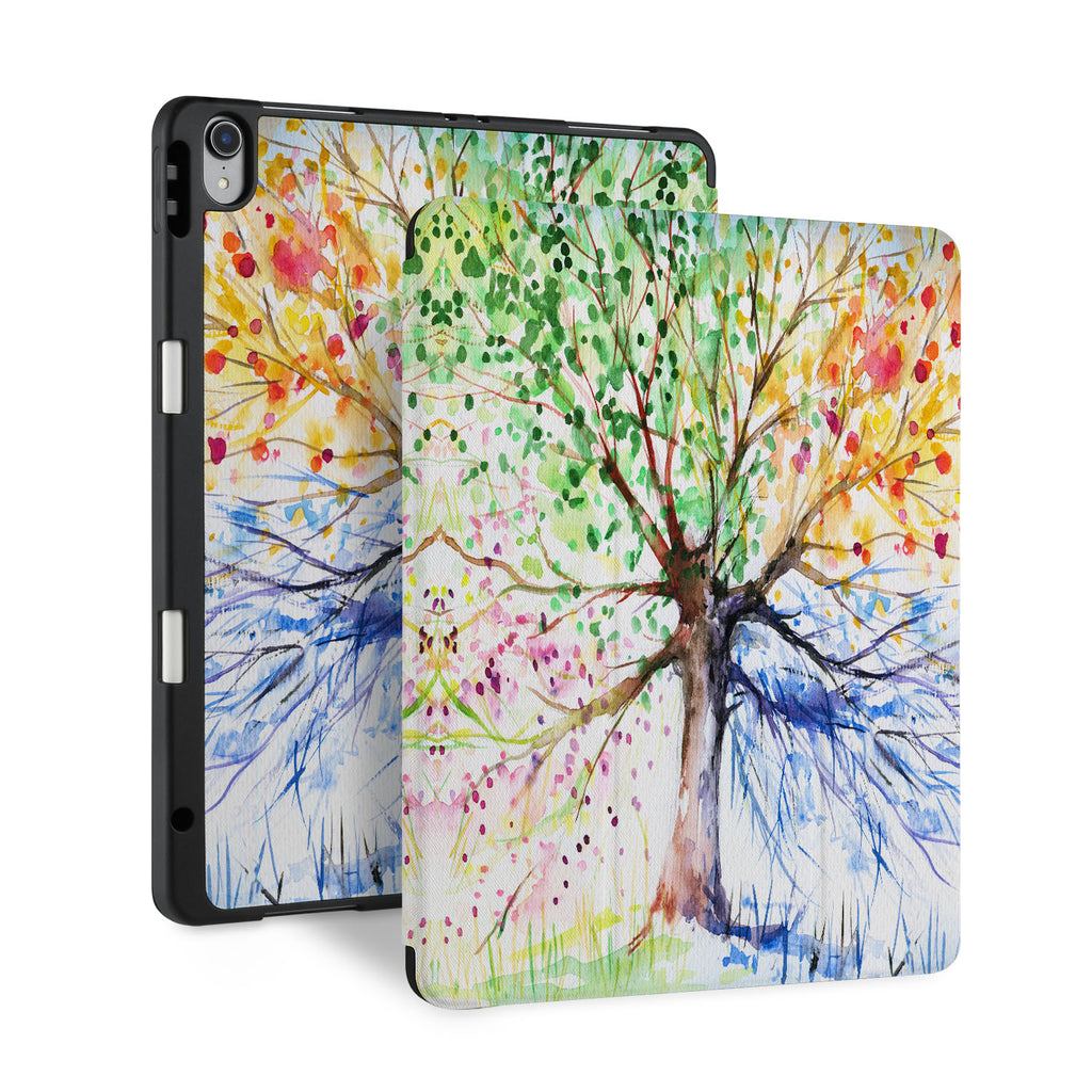 front and back view of personalized iPad case with pencil holder and Tree design