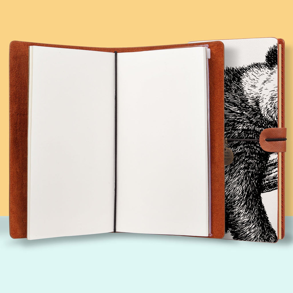 the front top view of midori style traveler's notebook with Cute Animal design