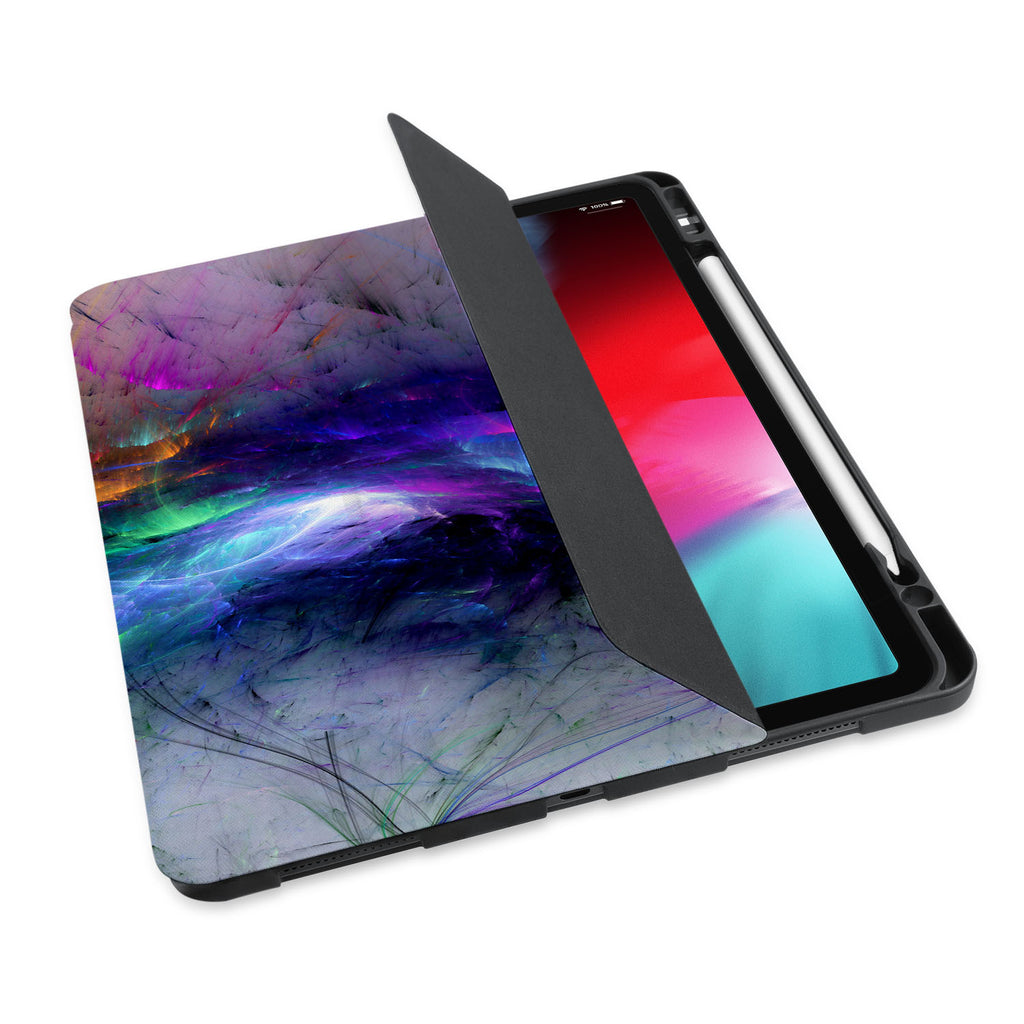 personalized iPad case with pencil holder and Colorful Smoke design