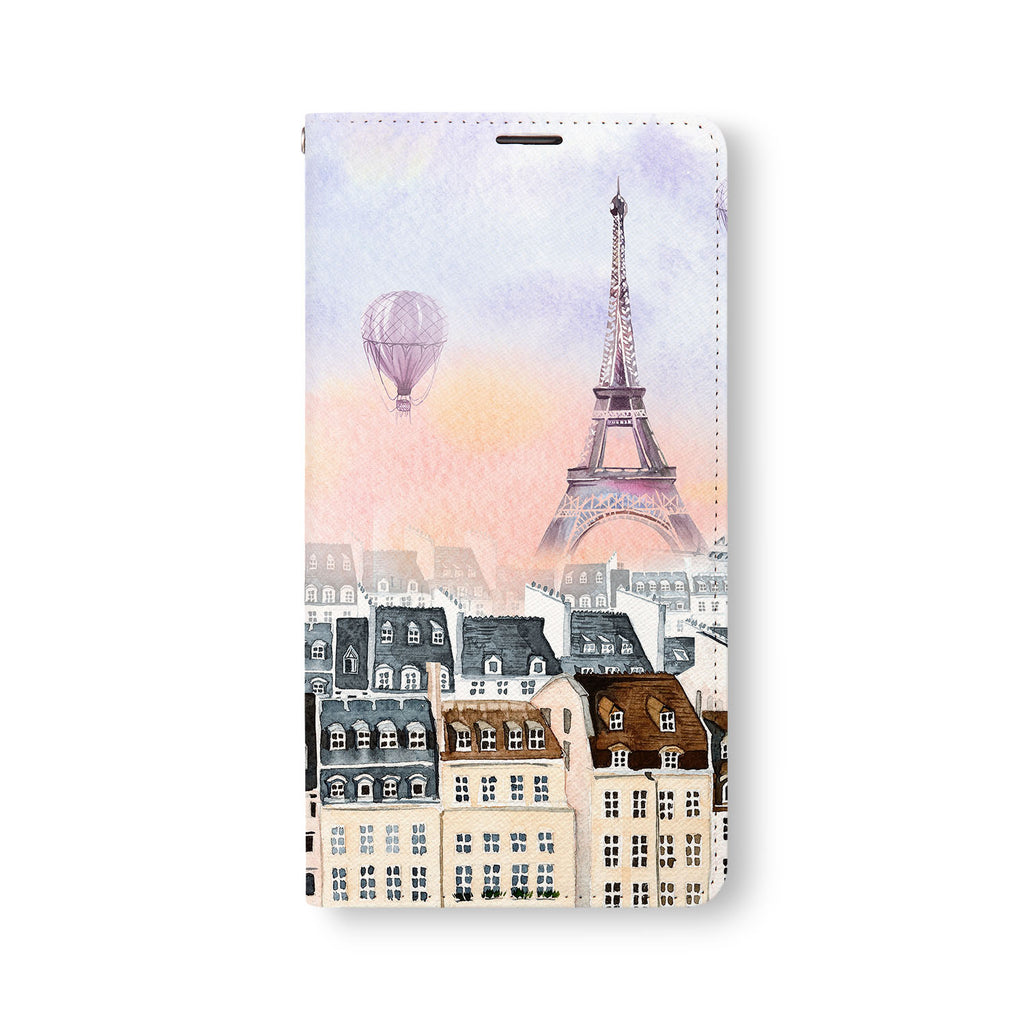Front Side of Personalized Samsung Galaxy Wallet Case with Travel design