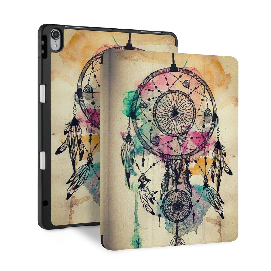 front and back view of personalized iPad case with pencil holder and DREAMCATCHER design