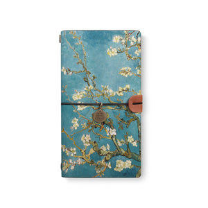 the front top view of midori style traveler's notebook with Oil Painting design
