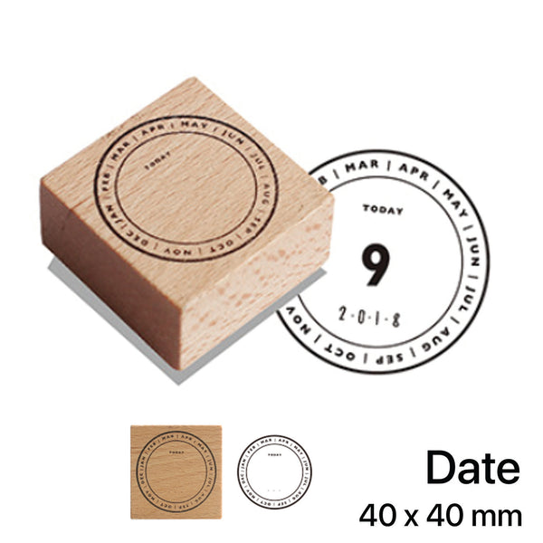 Wooden Rubber Stamp - Date
