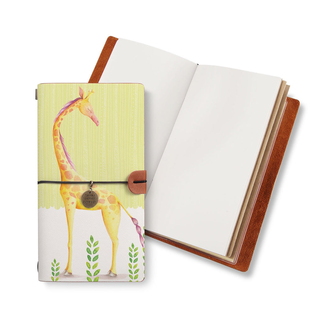 opened midori style traveler's notebook with Cute Animal 2 design