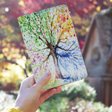 a girl holding personalized RFID blocking passport travel wallet with Watercolor Flower design