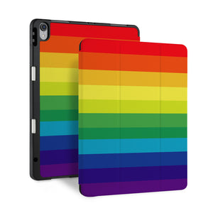 front back and stand view of personalized iPad case with pencil holder and Rainbow design - swap