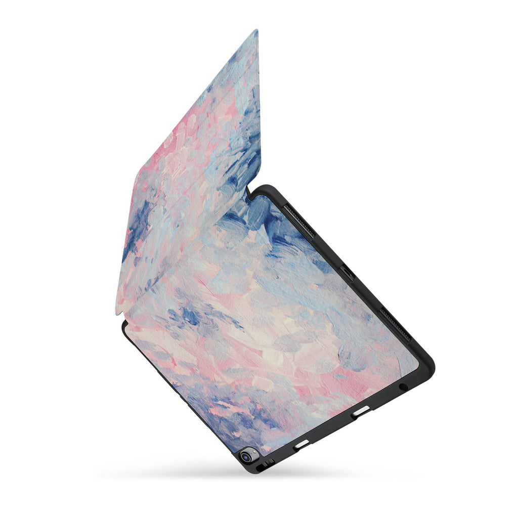 personalized iPad case with pencil holder and Oil Painting Abstract design