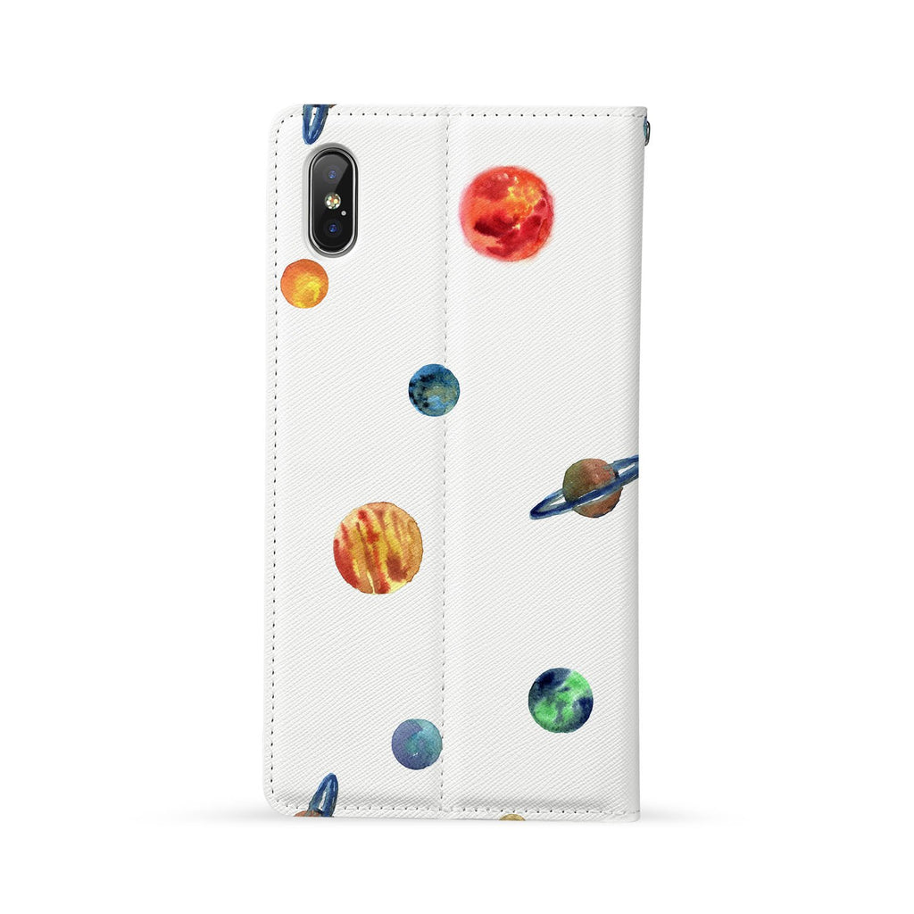 Back Side of Personalized Huawei Wallet Case with Galaxy design - swap