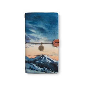 the front top view of midori style traveler's notebook with Landscape design