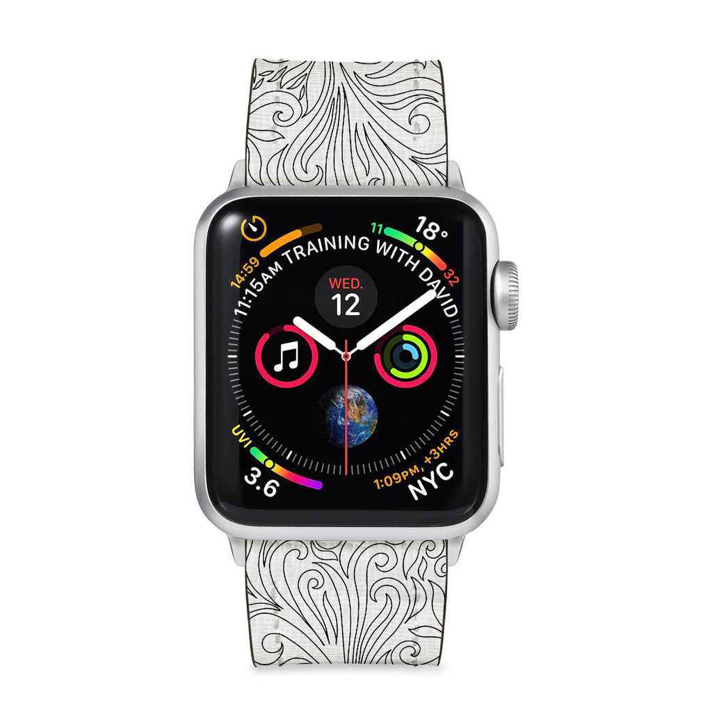 Our Printed Leather Apple Watch Band with Tiny Flowers Pattern design are made of water- and scratch-resistant saffiano leather because we know you wear your apple watch every, single, day. - swap