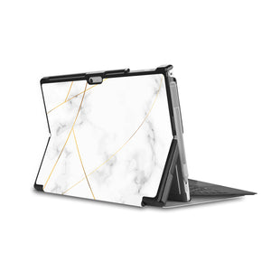 the back side of Personalized Microsoft Surface Pro and Go Case in Movie Stand View with Marble 2020 design - swap