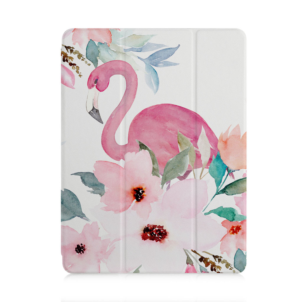 front and back view of personalized iPad case with pencil holder and Flamingo design