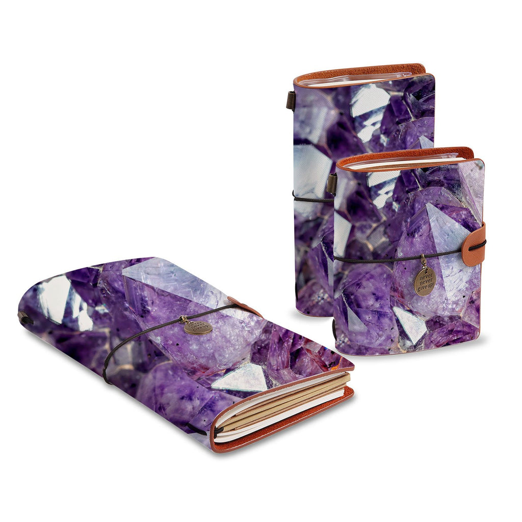three size of midori style traveler's notebooks with Crystal Diamond design