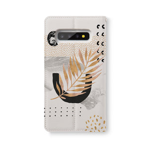Back Side of Personalized Samsung Galaxy Wallet Case with Marble Flower design - swap