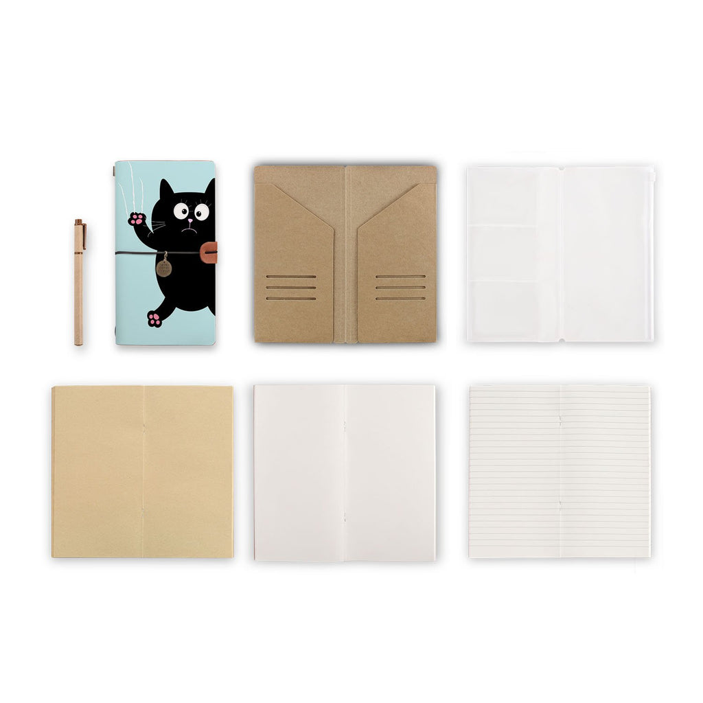 midori style traveler's notebook with Cat Kitty design, refills and accessories